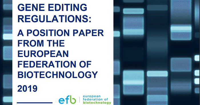 EFB Position Paper banner - Gene Editing Regulations: A Position Paper From the European Federation of Biotechnology - Banner