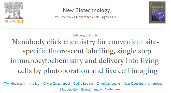 EFB Journal  - Nanobody click chemistry for convenient site-specific fluorescent labelling, single step immunocytochemistry and delivery into living cells by photoporation and live cell imaging.