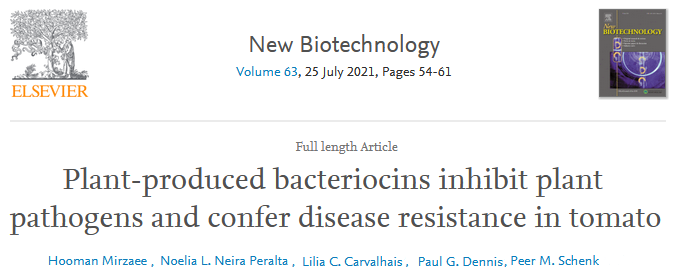 EFB Journal  - Plant-produced bacteriocins inhibit plant pathogens and confer disease resistance in tomato