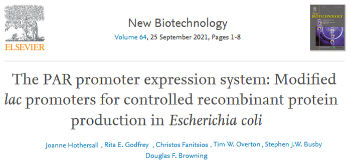 EFB Journal  - The PAR promoter expression system: Modified lac promoters for controlled recombinant protein production in Escherichia coli