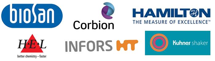Biosan, Corbion, Hamilton, HEL Group, Infors HT, Kuhner Shaker - Logos
